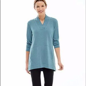 JJill Fit Soft Blue Stone Heather Elliptical Top